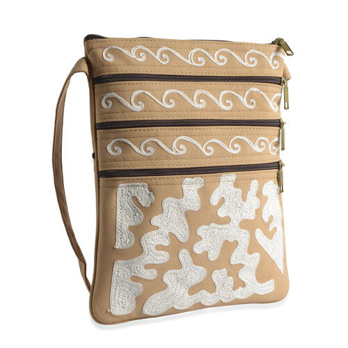 Hand Embroidered White and Beige Suede Fabric Sling Bag (Size 27x20 Cm)