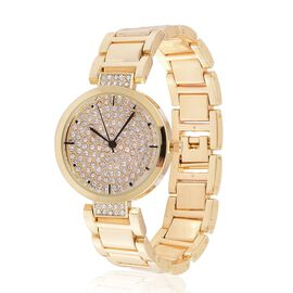 GENOA Japanese Movement White Austrian Crystal Studded Dial Water Resistant Watch in Gold Tone with Stainless Steel Back and Chain Strap