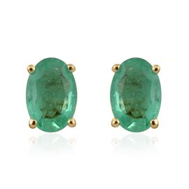 0.90 Ct AA Boyaca Colombian Emerald Stud Earrings in 9K Gold (with Push Back)