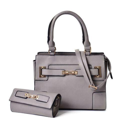 Set of 2 - Grey Colour Large Handbag with Adjustable Shoulder Strap and Small Handbag (Size 33.5x29.5x12.5 Cm, 19.5x10 Cm)