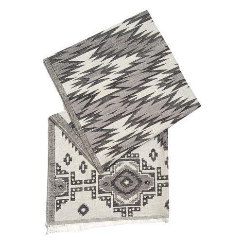 White, Grey and Black Colour Zigzag Pattern Scarf with Fringes (Size 190X70 Cm)