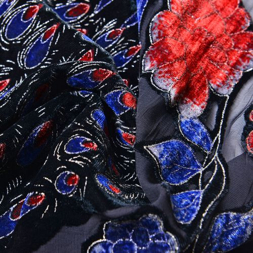 Black, Blue and Multi Colour Peacock and Floral Pattern Scarf with Tassels (Size 158X50 Cm)