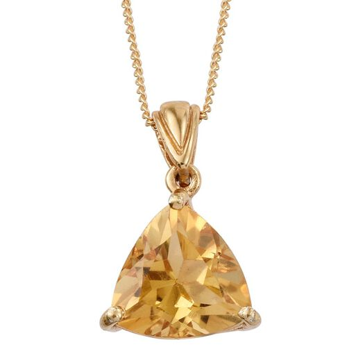 Citrine (Trl) Solitaire Pendant with Chain in 14K Gold Overlay Sterling Silver 3.000 Ct.