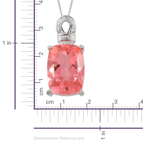 Padparadscha Colour Quartz (Cush 15.50 Ct), Diamond Pendant with Chain in Platinum Overlay Sterling Silver 15.510 Ct.