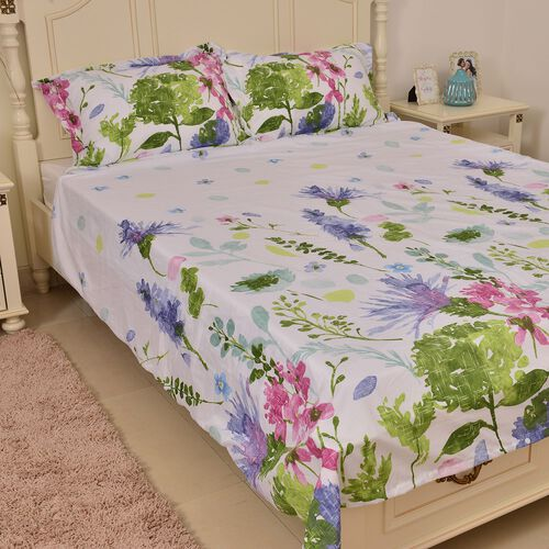 White, Pink, Blue and Multi Colour Floral Pattern Duvet Cover (Size 200X200 Cm), Fitted Sheet (Size 200X150X35 Cm) and Two Pillow Cover (Size 70X50X5 Cm)