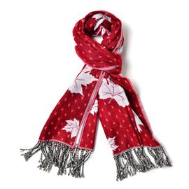 Red with White Colour Maple Leaf Pattern Scarf with Long Tassels (Size 170x65 Cm)