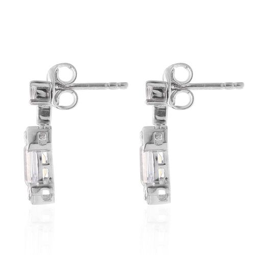 J Francis - Platinum Overlay Sterling Silver (Oct) Earrings (with Push Back) Made with SWAROVSKI ZIRCONIA