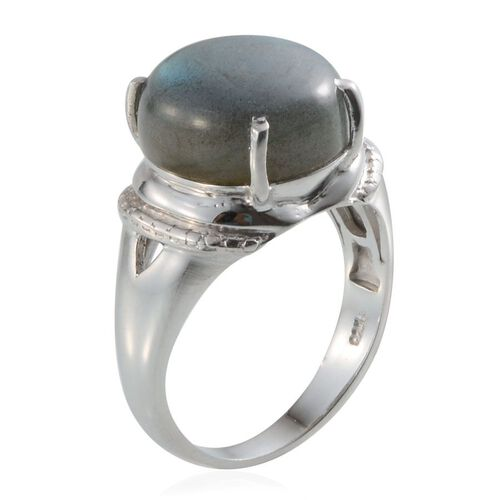Labradorite (Rnd) Solitaire Ring in Platinum Overlay Sterling Silver 10.250 Ct.