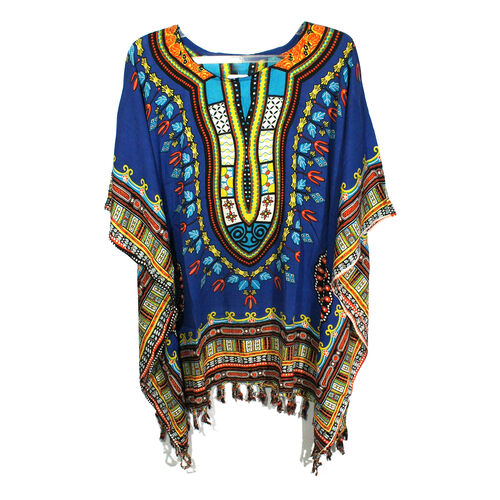 Bali Collection - 100% Rayon Blue and Multi Colour Mandala Ethnic Motif Poncho (Free Size)
