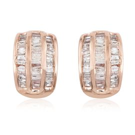 Diamond (Bgt) Stud Earrings (with Push Back) in Rose Gold Overlay Sterling Silver 0.500 Ct. Number of Diamonds 102