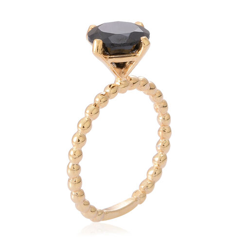 Boi Ploi Black Spinel (Rnd) Solitaire Ring in 14K Gold Overlay Sterling Silver 3.500 Ct.