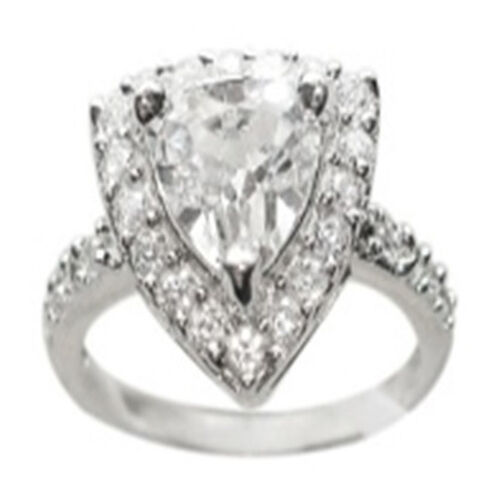ELANZA AAA Simulated White Diamond (Trl) Ring in Rhodium Plated Sterling Silver