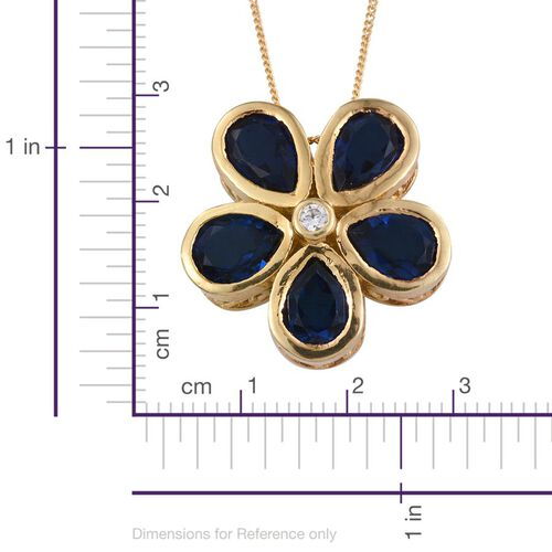 Ceylon Colour Quartz (Pear), Natural Cambodian Zircon Floral Pendant With Chain in 14K Gold Overlay Sterling Silver 6.750 Ct.