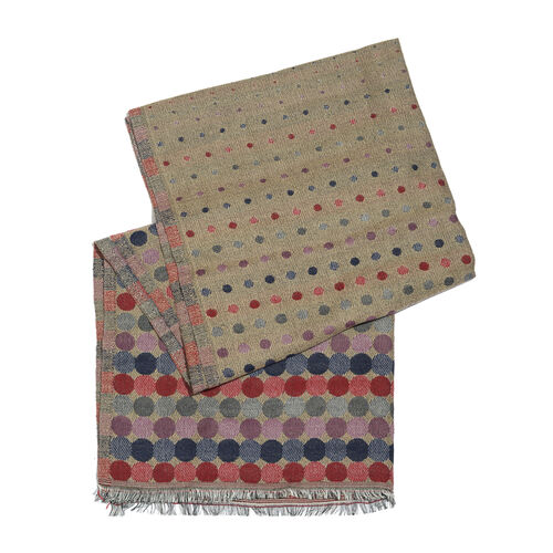 Brown, Red and Multi Colour Polka Dots Pattern Scarf with Fringes (Size 190X70 Cm)