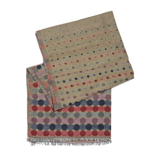 Brown, Red and Multi Colour Poka Dots Pattern Scarf with Fringes (Size 190X70 Cm)