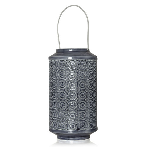(Option 2) Home Decor - Grey Colour Laser Cut Floral Pattern Lantern with LED T Light