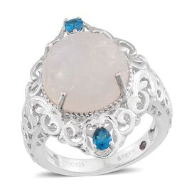 Stefy Rainbow Moonstone (Rnd 9.50 Ct), Malgache Neon Apatite and Pink Sapphire Ring in Platinum Overlay Sterling Silver 9.855 Ct.