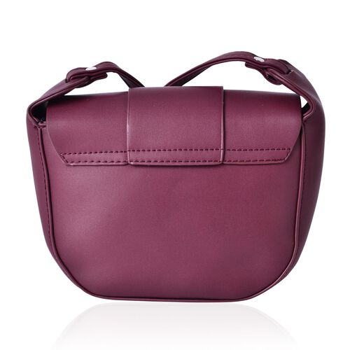 Burgundy Colour Crossbody Bag with Magnetic Closure Flap and Adjustable Shoulder Strap (Size 19x16x6 Cm)