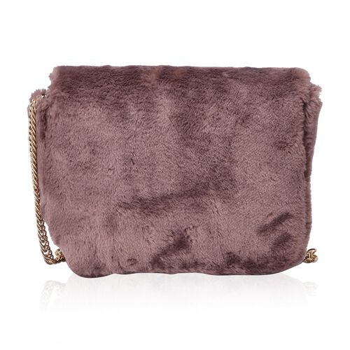 Faux Fur Chocolate Colour Crossbody Bag with Chain Strap (Size 24x19x10 Cm)