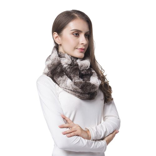 Designer Inspired Chocolate and White Colour Wave Pattern Faux Fur Infinity Scarf (Size 80X20 Cm)