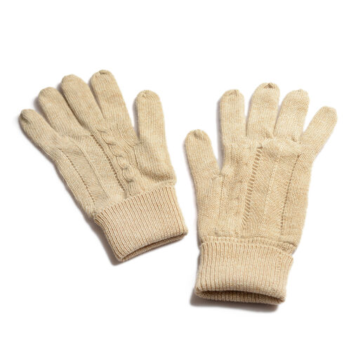 Winter Special - 80% Wool Cream Colour Gloves (Free Size)