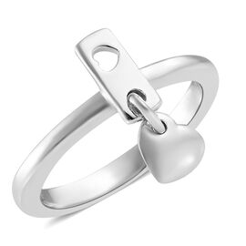 Platinum Overlay Sterling Silver Heart Charm Ring
