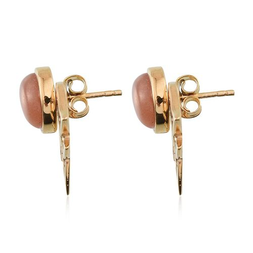 Morogoro Peach Sunstone (Rnd) Earrings (with Push Back) in 14K Gold Overlay Sterling Silver 4.250 Ct.