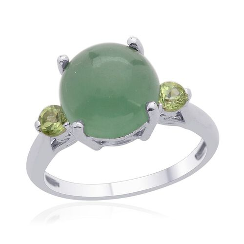 Emerald Quartz (Rnd 4.00 Ct), Hebei Peridot Ring in Platinum Overlay Sterling Silver 4.500 Ct.