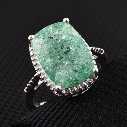 Green Crackled Quartz (Cush) Solitaire Ring in Sterling Silver 6.750 Ct.
