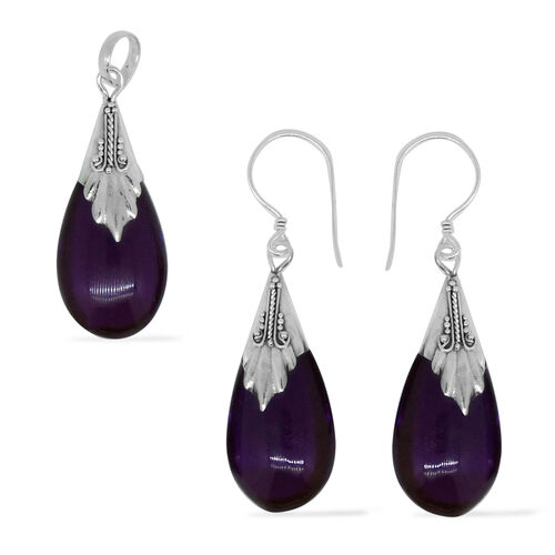 Royal Bali Collection Simulated Amethyst (Pear) Pendant and Hook Earrings in Sterling Silver