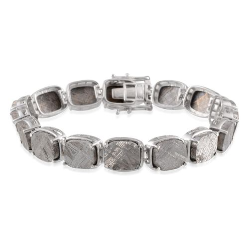 Meteorite (Cush) Bracelet (Size 7.5) in Platinum Overlay Sterling Silver 109.250 Ct.