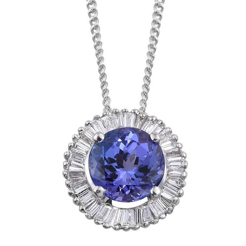 ILIANA 18K W Gold AAA Rare Round Shape Tanzanite, Diamond (SI G-H) Pendant With Chain 1.000 Ct.