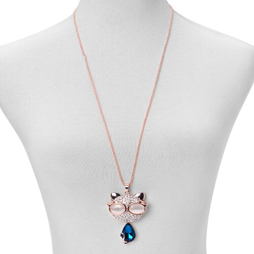 Simulated White Cats Eye, White Austrian Crystal and Simulated Blue Sapphire Pendant With Chain (Size 30 with 1 inch Extender) in Rose Gold Tone