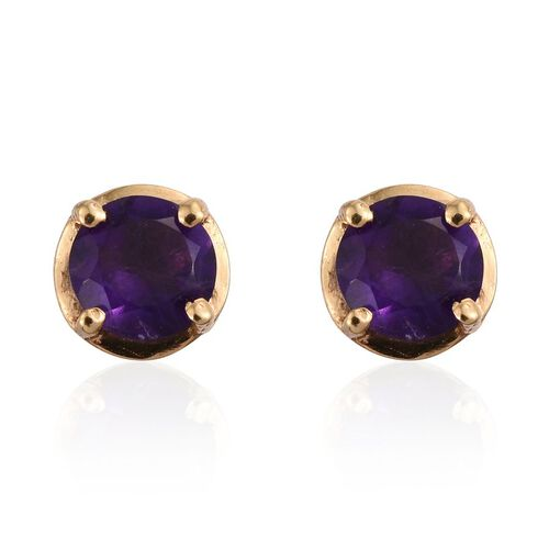 Natural Uruguay Amethyst (Rnd) Stud Earrings (with Push Back) in 14K Gold Overlay Sterling Silver 1.000 Ct.