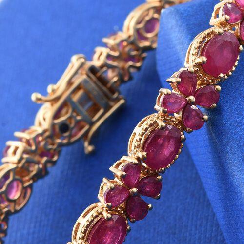 GP African Ruby (Ovl), Kanchanaburi Blue Sapphire Floral Bracelet (Size 7.5) in 14K Gold Overlay Sterling Silver 23.750 Ct.