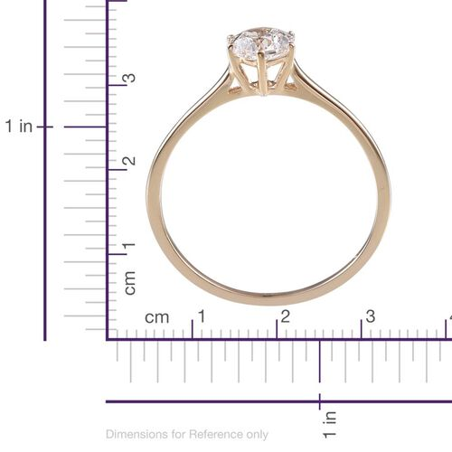 9K Y Gold (Rnd) Solitaire Ring Made with SWAROVSKI ZIRCONIA 1.030 Ct.