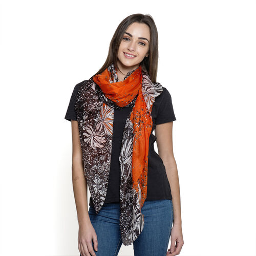 100% Mulberry Silk Orange and Brown Colour Abstract Pattern Pareo (Size 180x100 Cm)