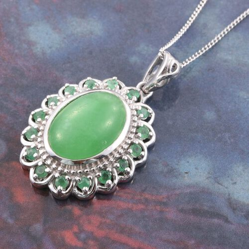 Green Jade (Ovl 7.25 Ct), Kagem Zambian Emerald Pendant With Chain in Platinum Overlay Sterling Silver 7.750 Ct.