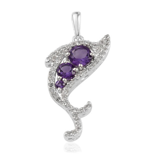 Amethyst (Rnd), White Topaz Fish Pendant with Chain in Rhodium Plated Silver 0.790 Ct.