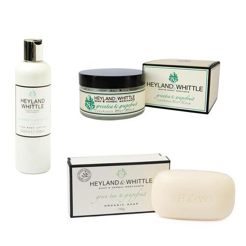 HEYLAND AND WHITTLE- Greentea and Grapefruit body scrub, organic bar, body lotion