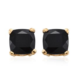 Black Tourmaline (Cush) Stud Earrings (with Push Back) in 14K Gold Overlay Sterling Silver 4.500 Ct.