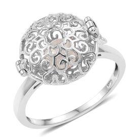 Secret-Treasure Ring Fresh Water Pearl (Rnd 6mm) Filigree Ball Ring in Platinum Overlay Sterling Silver