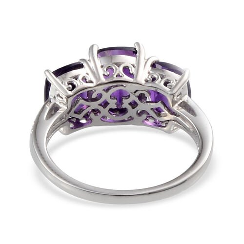Lusaka Amethyst (Cush 1.75 Ct), Diamond Ring in Platinum Overlay Sterling Silver 4.400 Ct.