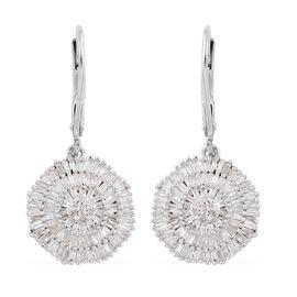Designer Inspired Ballerina Diamond (Rnd) Lever Back Earrings in Platinum Overlay Sterling Silver 1.040 Ct.
