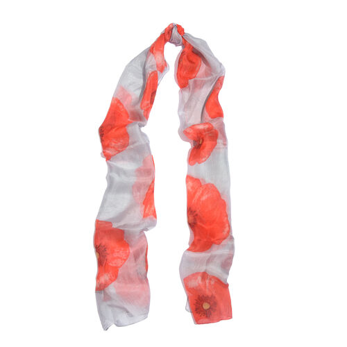 TJC Poppy Design - 100% Mulberry Silk Red Poppy Pattern Grey Colour Scarf (Size 180X50 Cm)