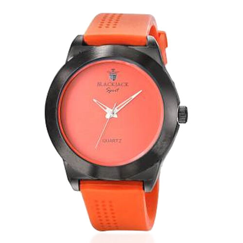 Limited Available-BLACKJACK Japanese Movement Orange Colour Dial Water Resistant Watch in Black Tone with Stainless Steel Back and Orange Rubber Strap