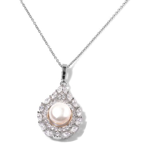 AAA Fresh Water Pearl (Round 10mm and Simulated White Diamond Pendant With Chain in Stainless Steel