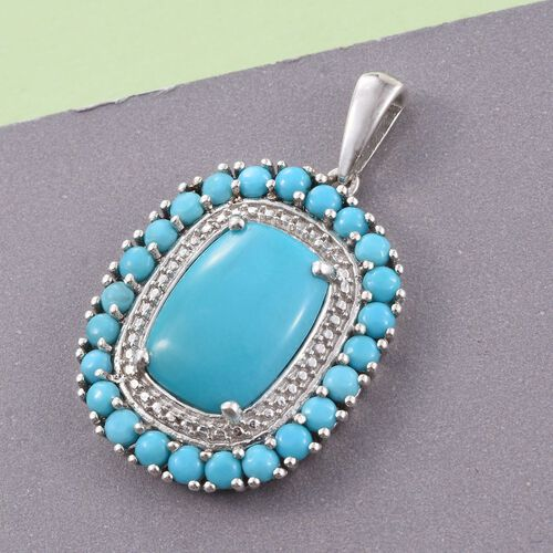 Arizona Sleeping Beauty Turquoise (Cush) Pendant in Platinum Overlay Sterling Silver 6.000 Ct.