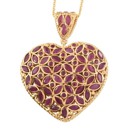 AAA Brazilian Emerald (Mrq), AAA African Ruby Heart Pendant with Chain in 14K Gold Overlay Sterling Silver 16.000 Ct.