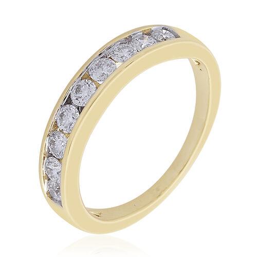 ILIANA 18K Yellow Gold IGI Certified Diamond (Rnd) (SI G-H Half Eternity Ring 0.500 Ct.